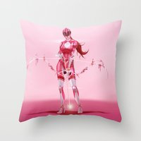 power ranger Throw Pillows featuring Pink Ranger by Isaiah K. Stephens