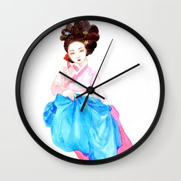 Watercolor Korean beauty - Pink&Blue Wall Clock