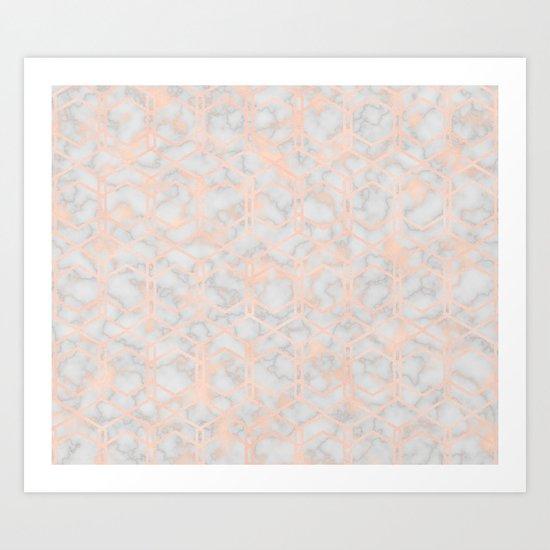 Geometric rose gold art deco on smokey marble Art Print