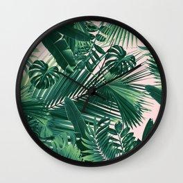 Jungle Leaves Siesta #1 #tropical #decor #art #society6 Wall Clock