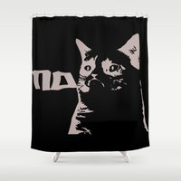 banksy Shower Curtains featuring Grumpy Cat Stencil (Banksy Style) Graph by adr7an
