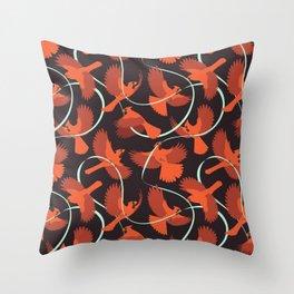 Cardinals with Ribbon Throw Pillow