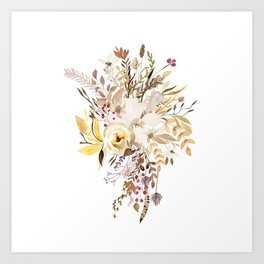 Pretty Autumn Flower Bouquet Art Print