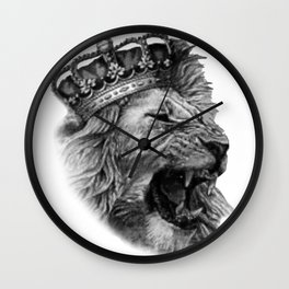 the lion head with his majestic crown Wall Clock