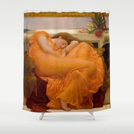 Flaming June Oil Painting by Frederic Lord Leighton Shower Curtain