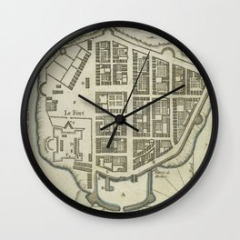 Vintage Map of Lower Manhattan (1764) Wall Clock