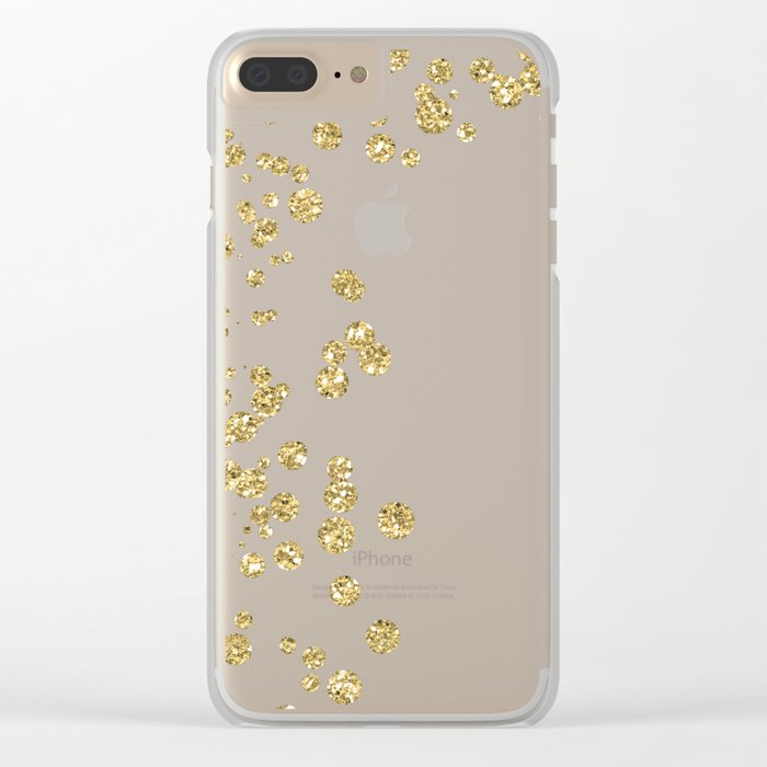 Sparkling gold glitter confetti on black - Luxury design Clear iPhone Case