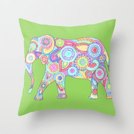 Elephant Flower Doodle Throw Pillow