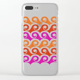 Retro Mid Century Modern Waves Clear iPhone Case