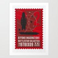 battlestar galactica Art Prints featuring Beyond imagination: Battlestar Galactica postage stamp  by Chungkong