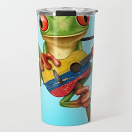 Tree Frog Playing Acoustic Guitar with Flag of Colombia Travel Mug