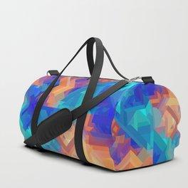 Multi Color Geometric Pattern // Dark Blues, Oranges, Aqua, Teal Duffle Bag