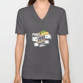 Cute & Funny Peace Love Tacos Unisex V-Neck