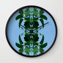 Pink and Leaves Wall Clock