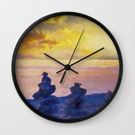 Rock Stack Sunrise Wall Clock