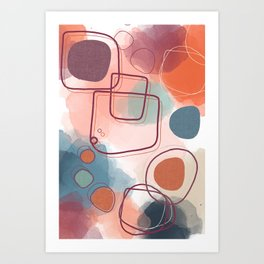 Abstract Shapes and Colours - Pinks and Blues  Art Print