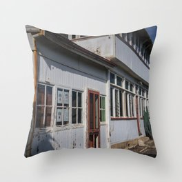 Weathered White Building Throw Pillow