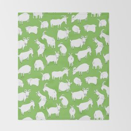 Green Goats Throw Blanket