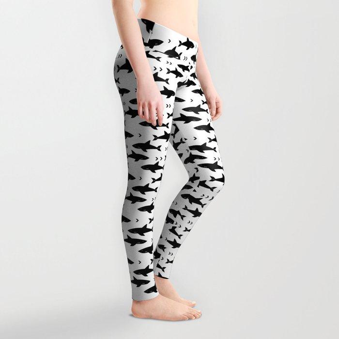 Sharks - shark week trendy black and white minimal kids pattern print Leggings