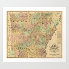 Vintage Map of Arkansas (1839) Art Print