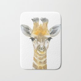 Baby Giraffe Watercolor Bath Mat