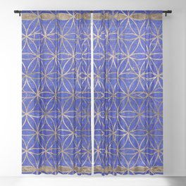 Flower of life pattern - Lapis Lazuli and Gold Sheer Curtain