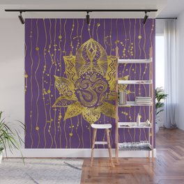 Gold Lotus flower and OM symbol Wall Mural