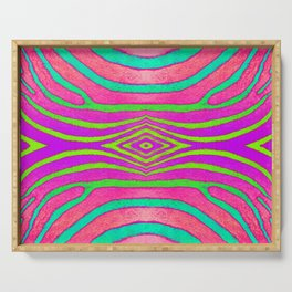 Neon Zebra Pattern Serving Tray