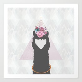 The Holy Llama Floral Geometric (white) Art Print