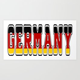 Germany Font #1 with German Flag Art Print