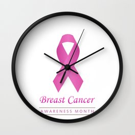 Breast cancer awareness pink ribbon- graphic to support women suffering from breast cancer Wall Clock