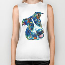 Colorful Dog Art - Happy Go Lucky - By Sharon Cummings Biker Tank