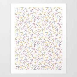 Hand painted tiny rainbow pick up sticks confetti . Art Print
