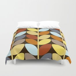 Retro 70s Color Palette Leaf Pattern Duvet Cover