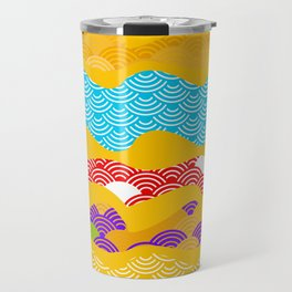 Summer bright pattern  scales simple Nature background with Chinese wave circle pattern Travel Mug