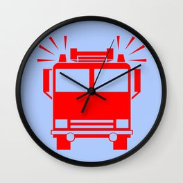 fire truck illustration Wall Clock