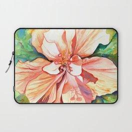 Double Peach Tropical Hibiscus Laptop Sleeve