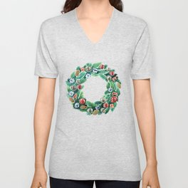 Christmas wreath. New Year decoration. Adornment coniferous green with cones, balls, snowflakes red bows. Unisex V-Neck