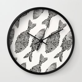 Indonesian Fish Duo – Black Palette Wall Clock
