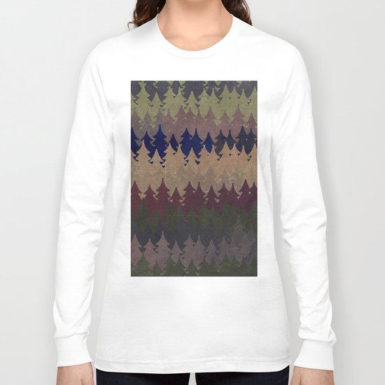 The secret forest at late afternoon- Dark tree pattern #Society6 Long Sleeve T-shirt