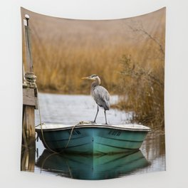 Great Blue Heron on Fishing Boat Wall Tapestry