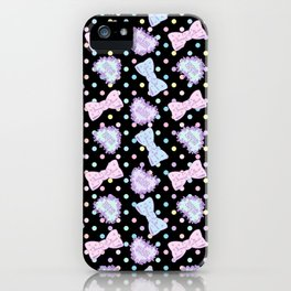 Pretty Baby Brand Whore Allover Pastel Rainbow Black iPhone Case