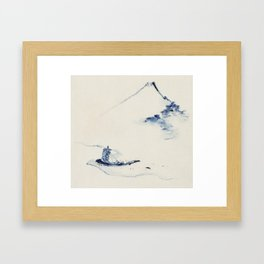 A Person in a Small Boat on a River with Mount Fuji in the Background by Hokusai Framed Art Print