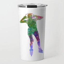 Woman in roller skates 04 in watercolor Travel Mug