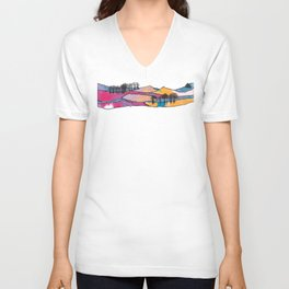 Multicolored Panorama Diptych Part 2 Unisex V-Neck
