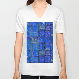 V2 Calm Blue Traditional Moroccan Cloth Texture. Unisex V-Neck