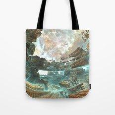 Aqua Space Shipyard Tote Bag