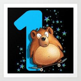 Children Bear 1st Birthday 1 Year One Art Print