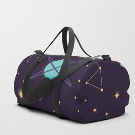 Universe with planets, stars and astronaut helmet seamless pattern 001 Duffle Bag