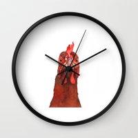 chicken Wall Clocks featuring Chicken by LouiseanneDem
